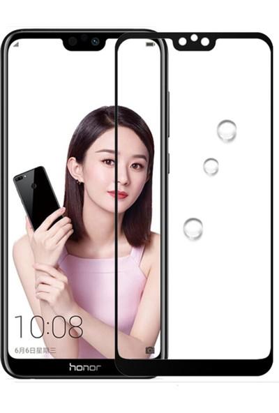 Microcase Huawei Honor 9i Tam Kaplayan Çerçeveli Tempered Ekran Koruyucu - Siyah