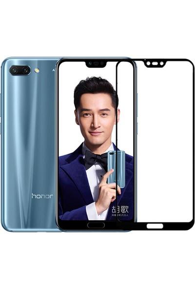 Microcase Huawei Honor 10 Tam Kaplayan Çerçeveli Tempered Ekran Koruyucu - Siyah