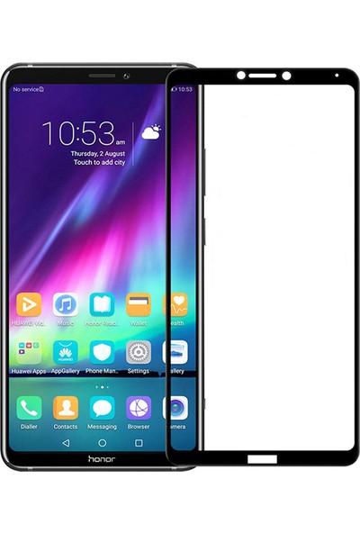 Microcase Huawei Honor Note 10 Tam Kaplayan Çerçeveli Tempered Ekran Koruyucu - Siyah