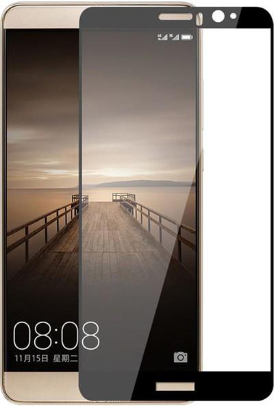 Microcase Huawei Mate 9 Tam Kaplayan Çerçeveli Tempered Ekran Koruyucu - Siyah