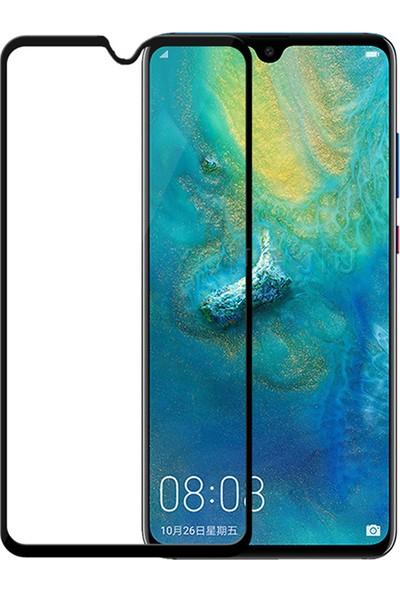 Microcase Huawei Mate 20 Tam Kaplayan Çerçeveli Tempered Ekran Koruyucu - Siyah