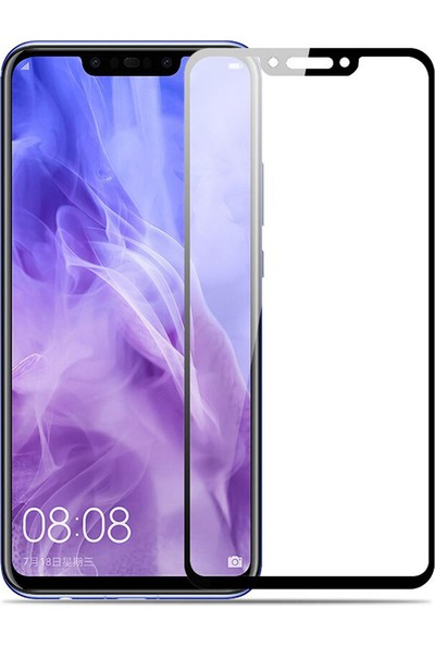Microcase Huawei Nova 3i / P Smart Plus Tam Kaplayan Çerçeveli Tempered Ekran Koruyucu - Siyah