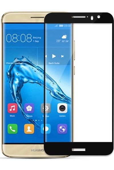 Microcase Huawei Nova Plus Tam Kaplayan Çerçeveli Tempered Ekran Koruyucu - Siyah