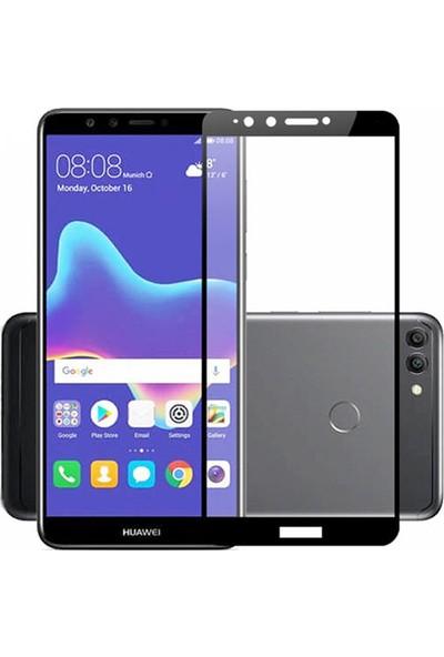 Microcase Huawei Y9 2018 Tam Kaplayan Çerçeveli Tempered Ekran Koruyucu - Siyah