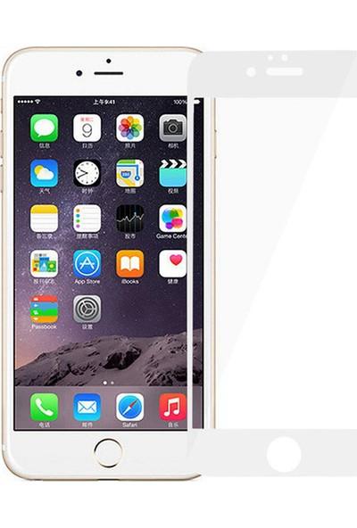 Microcase Apple iPhone 6 Plus / 6S Plus Tam Kaplayan Çerçeveli Tempered Ekran Koruyucu - Beyaz