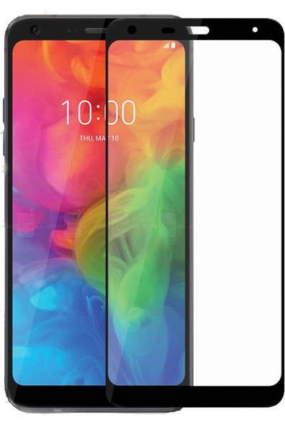 Microcase LG Q7 Plus Tam Kaplayan Çerçeveli Tempered Ekran Koruyucu - Siyah