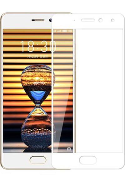 Microcase Meizu Pro 7 Plus Tam Kaplayan Çerçeveli Tempered Ekran Koruyucu - Beyaz