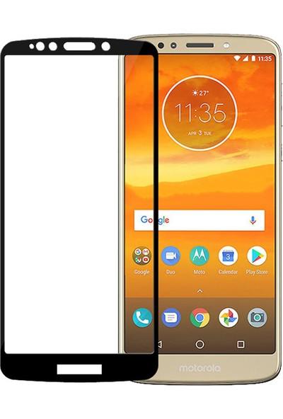 Microcase Motorola Moto E5 Plus Tam Kaplayan Çerçeveli Tempered Ekran Koruyucu - Siyah