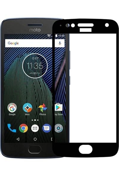 Microcase Motorola Moto G5S Plus Tam Kaplayan Çerçeveli Tempered Ekran Koruyucu - Siyah
