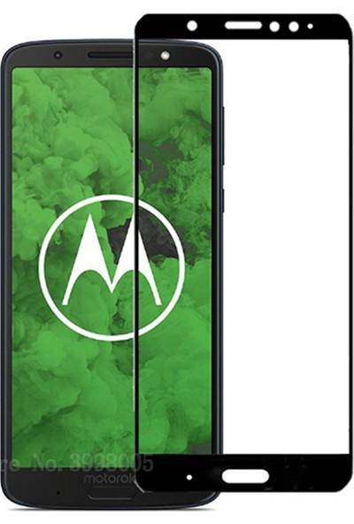 Microcase Motorola Moto G6 Plus Tam Kaplayan Çerçeveli Tempered Ekran Koruyucu - Siyah