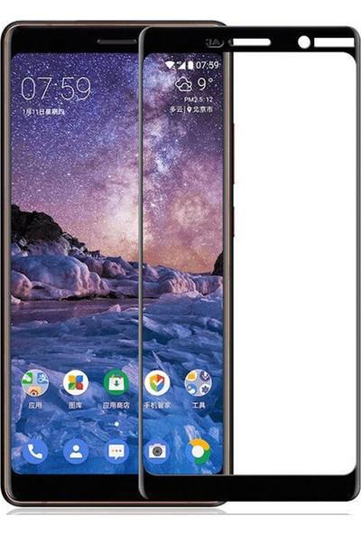 Microcase Nokia 7 Plus Tam Kaplayan Çerçeveli Tempered Ekran Koruyucu - Siyah