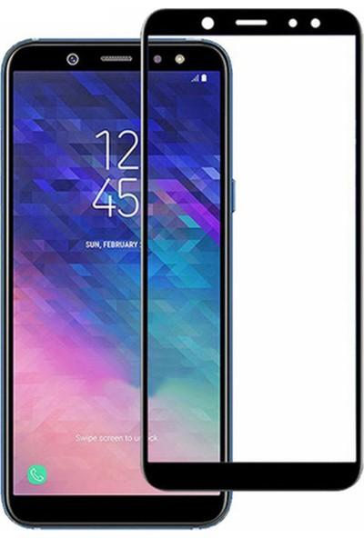 Microcase Samsung Galaxy A6 2018 Tam Kaplayan Çerçeveli Tempered Ekran Koruyucu - Siyah