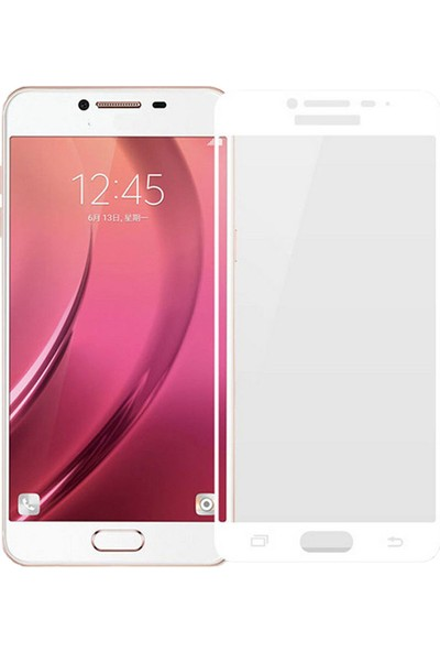 Microcase Samsung Galaxy C5 Tam Kaplayan Çerçeveli Tempered Ekran Koruyucu - Beyaz