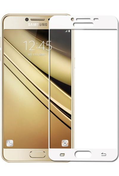 Microcase Samsung Galaxy C7 Pro Tam Kaplayan Çerçeveli Tempered Ekran Koruyucu - Beyaz
