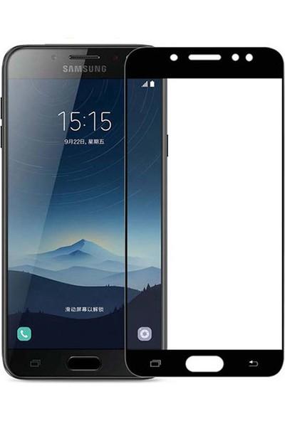 Microcase Samsung Galaxy C8 Tam Kaplayan Çerçeveli Tempered Ekran Koruyucu - Siyah