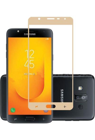 Microcase Samsung Galaxy J7 Duo Tam Kaplayan Çerçeveli Tempered Ekran Koruyucu - Gold