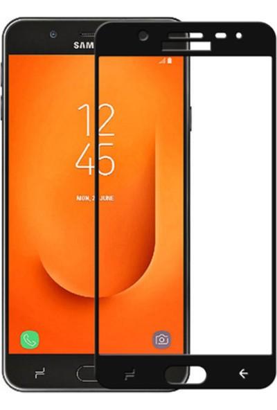 Microcase Samsung Galaxy J7 Prime 2 Tam Kaplayan Çerçeveli Tempered Ekran Koruyucu - Siyah