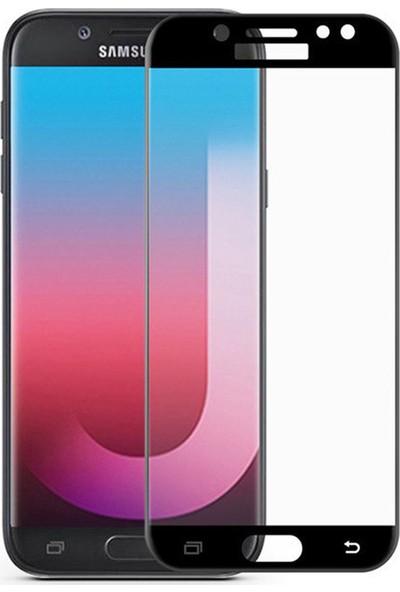 Microcase Samsung Galaxy J7 Pro 2017 Tam Kaplayan Çerçeveli Tempered Ekran Koruyucu - Beyaz