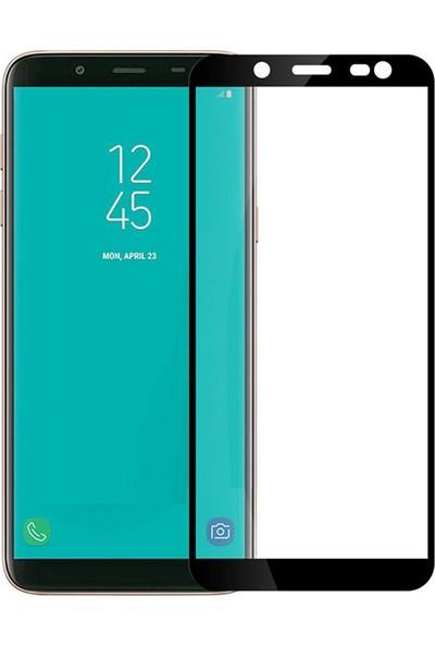 Microcase Samsung Galaxy J8 Tam Kaplayan Çerçeveli Tempered Ekran Koruyucu - Siyah