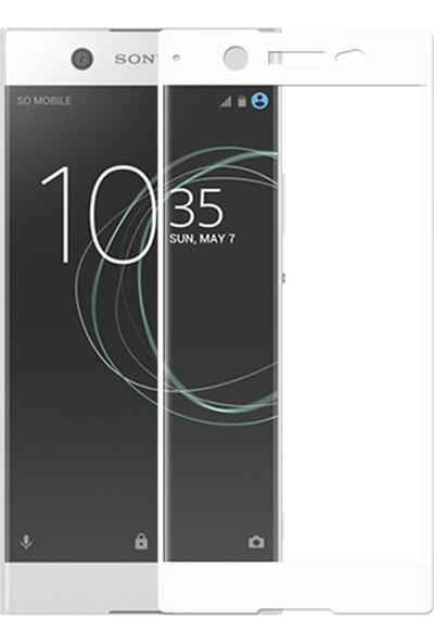 Microcase Sony Xperia XA1 Ultra Tam Kaplayan Çerçeveli Tempered Ekran Koruyucu - Beyaz