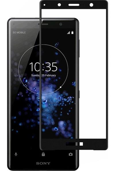 Microcase Sony Xperia XZ2 Compact Tam Kaplayan Çerçeveli Tempered Ekran Koruyucu - Siyah