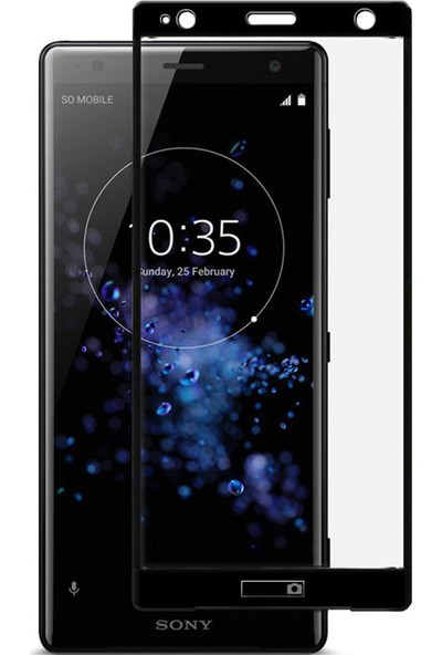 Microcase Sony Xperia XZ2 Tam Kaplayan Çerçeveli Tempered Ekran Koruyucu - Siyah