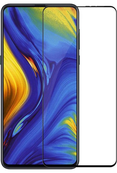 Microcase Xiaomi Mi Mix 3 Tam Kaplayan Çerçeveli Tempered Ekran Koruyucu - Siyah