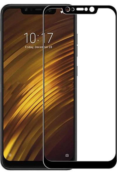 Microcase Xiaomi Pocophone F1 Tam Kaplayan Çerçeveli Tempered Ekran Koruyucu - Siyah