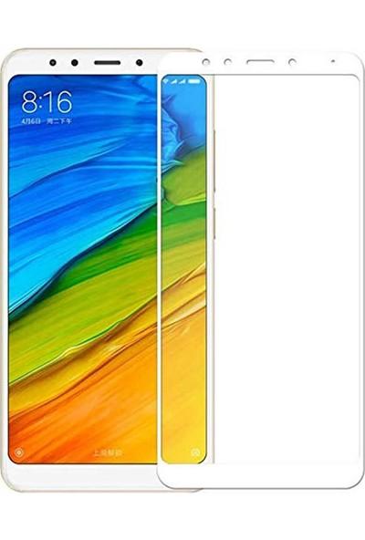 Microcase Xiaomi Redmi Note 5 Tam Kaplayan Çerçeveli Tempered Ekran Koruyucu - Beyaz