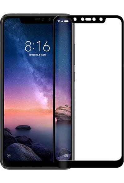 Microcase Xiaomi Redmi Note 6 Pro Tam Kaplayan Çerçeveli Tempered Ekran Koruyucu - Siyah