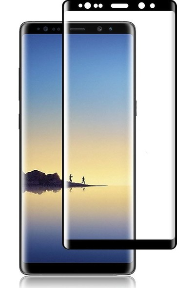 Microcase Samsung Galaxy Note 9 3D Kavisli Tempered Cam Koruma - Siyah
