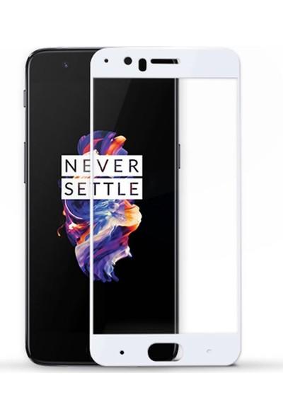 Microcase OnePlus 5 3D Kavisli Tempered Cam Koruma - Beyaz