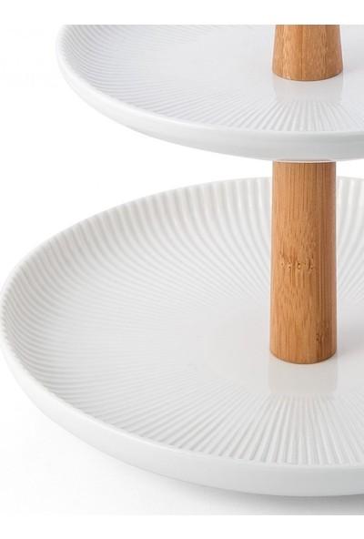 Nehir Mutfak Lines İki Katlı Bambu İskeletli Porselen Kurabiyelik,İki Katlı Çerezlik,Meyvelik
