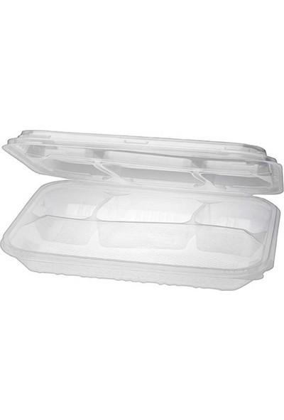 Kesepak Plastik Kapaklı 4 gözlü Kebap Kabı 25' li Pakette