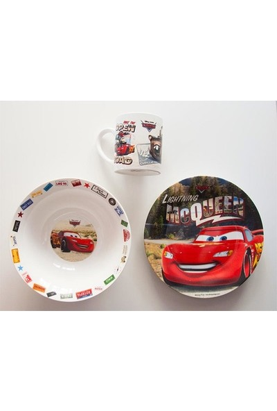 Disney Cars Şimşek McQueen Yemek Seti - 3'lü - Porselen