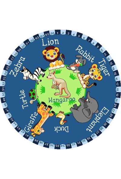Confetti Vahşi Hayvanlar Anaokulu Çocuk Odası Halısı 133 x 133 cm