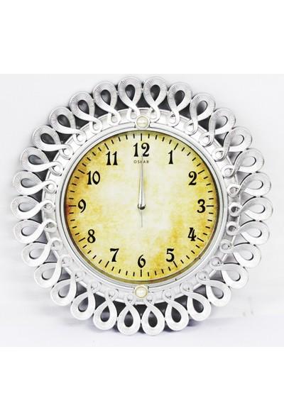 Oskar Duvar Saati Sessiz Çalişan Saat Gümüş