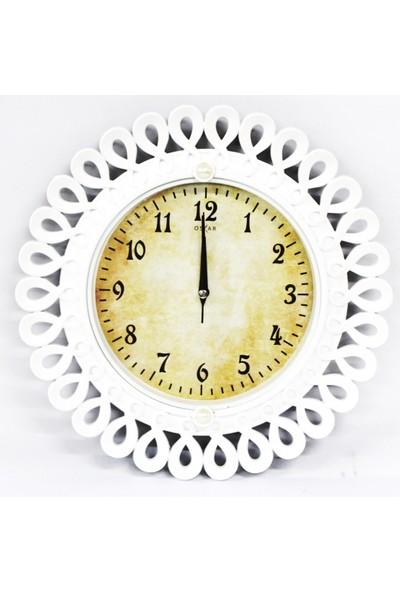 Oskar Duvar Saati Sessiz Saat Beyaz