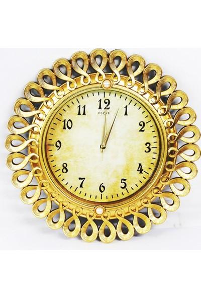 Oskar Duvar Saati Sessiz Çalişan Saat Sari
