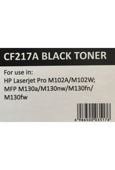 17A Siyah Muadil Toner (Çipli) CF217A