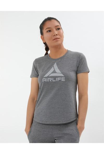 Airlife Kadın Lacivert Basic Yaka Tişört