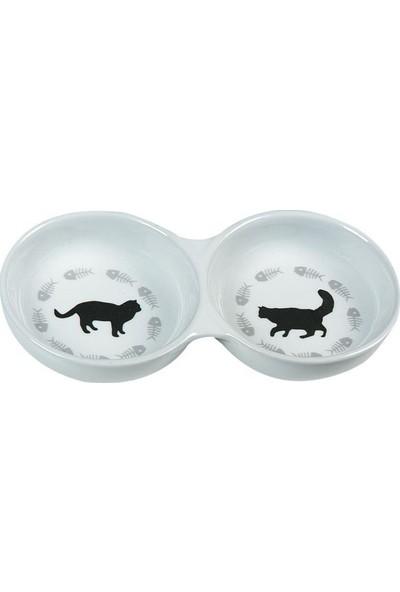 Karlie Porselen İkili Kedi Mama Kabı 150Ml