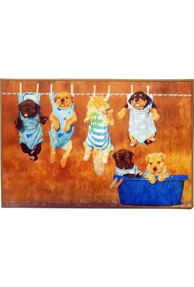 Decovilla Kedi Köpek Paspası Kahverengi Kedi Köpek Desenli 60X40Cm