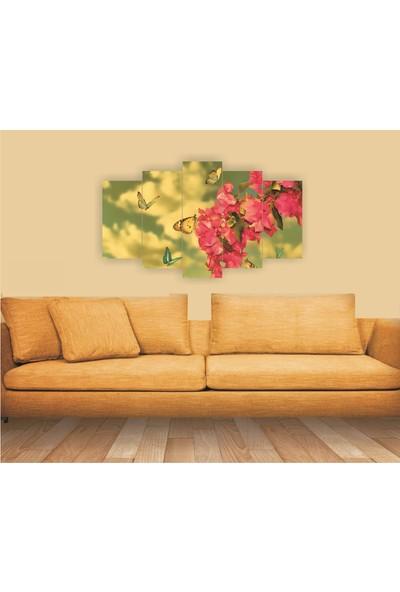 Src Dekor Çiçek Görseli 3 - 5 Parçalı MDF Tablo 100 x 60 cm