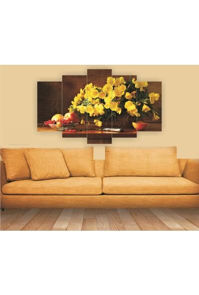 Src Dekor Sarı Çiçek 14 - 5 Parçalı MDF Tablo 100 x 60 cm
