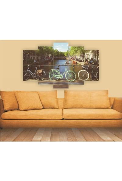 Src Dekor Bisiklet Manzarası 95 - 5 Parçalı MDF Tablo 100 x 60 cm