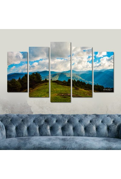 Src Dekor Dağ Manzarası 139 - 5 Parçalı MDF Tablo 100 x 60 cm