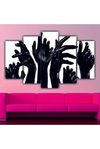 Src Dekor Siyah Eller 28 - 5 Parçalı MDF Tablo 100 x 60 cm