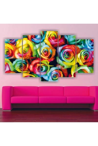 Src Dekor Rengarenk Güller 45 - 5 Parçalı MDF Tablo 100 x 60 cm