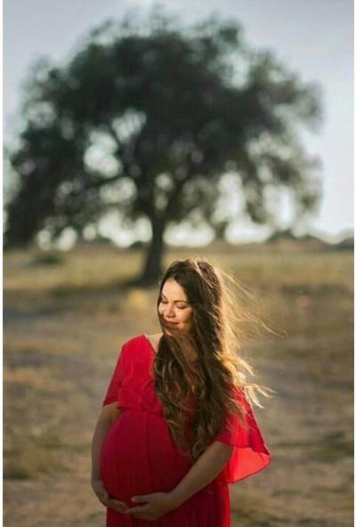 Moda Labio Babyshower Melek Kol Kırmızı Hamile Elbisesi